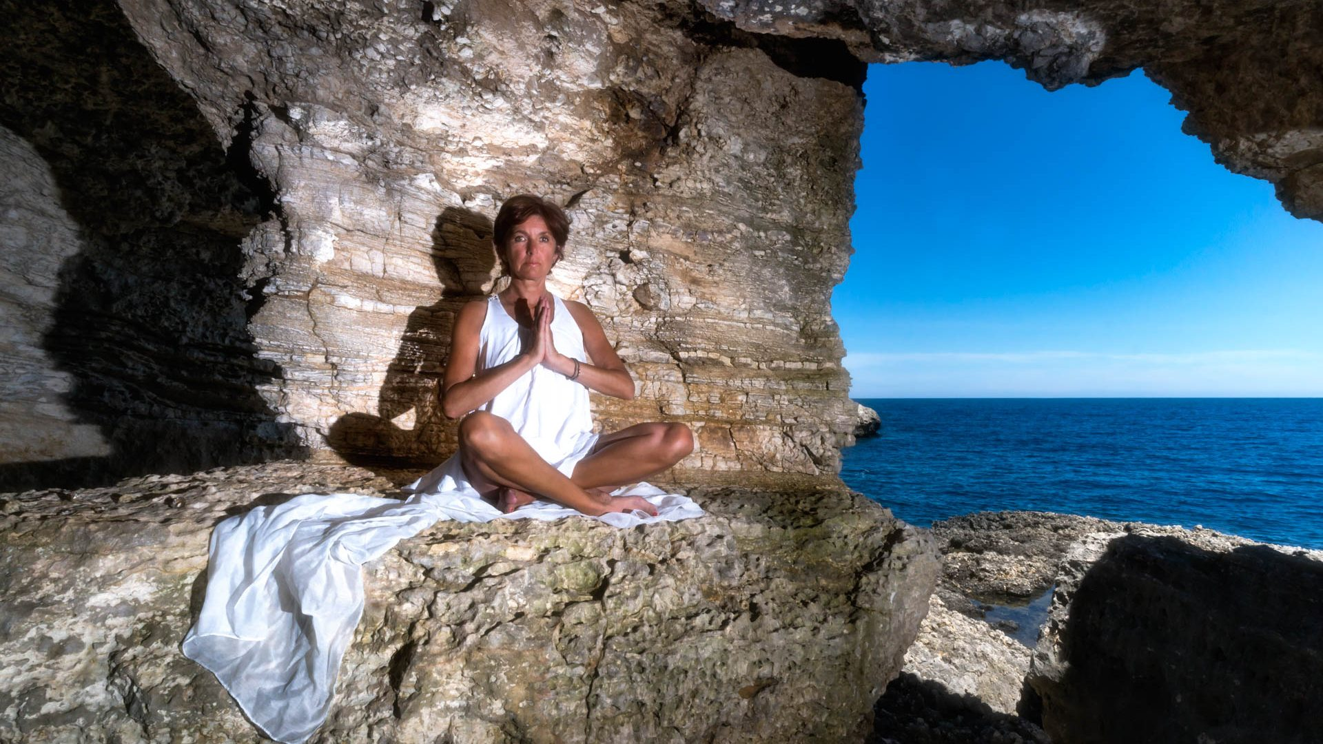 Ibiza, Höhle, Strand, Yoga, Sonne
